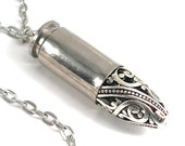 Silver Filigree Bullet Necklace - Hippie Jewelry - Eco-Friendly