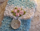 Pretty as a Picture - Small Pale Aqua Purse With White Strap and Pink Flowers