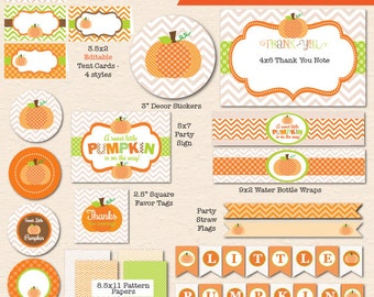 Little Pumpkin Baby Shower - INSTANT DOWNLOAD, DIY Printable Party