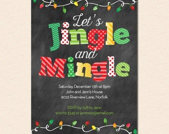 Jingle and Mingle Christmas Lights - Chalkboard Christmas / Holiday Party Invitation (Digital File OR Printed Cardstock Cards Are Available)
