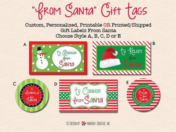 Personalized christmas gift labels from santa diydigital like this item negle Gallery