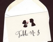 Escort Envelopes, Place card with Bride and Groom Silhouette and Calligraphy
