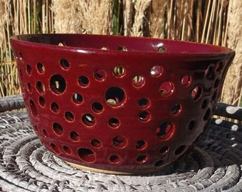 Christmas Red Bowl - Hand Carved Pottery