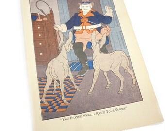 ephemera PINOCCHIO donkey childrens book illustration. paper ephemera . home decor . 1917 book page . wall art . nursery picture