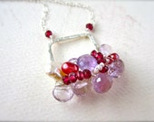 The Siren Petite Cluster Necklace - pink amethyst cluster necklace, wire wrapped pink cluster necklace, pink necklace, pink gem cluster CN02