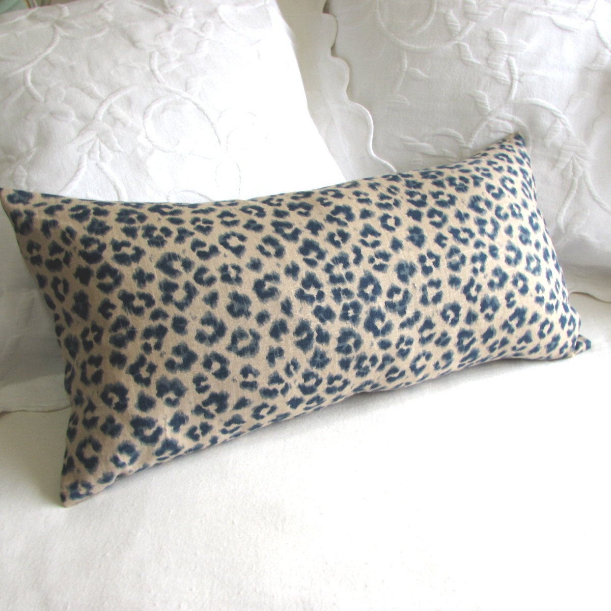 Throw Pillow Bolster : CHEETAH LINEN lumbar bolster throw pillow 13x26 insert