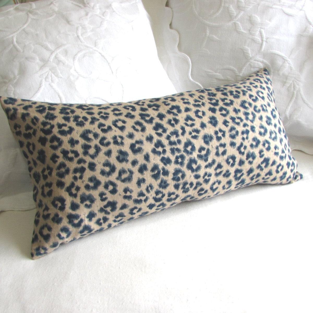 CHEETAH LINEN lumbar bolster throw pillow 13x26 insert