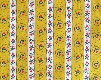 Vintage Cotton Yardage - Small Floral Stripes in Yellow White Red and Black