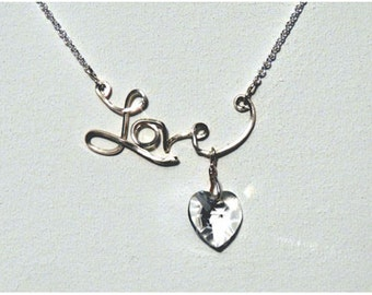 Love necklace with Swarovski heart dangle
