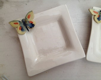 Pair of Porcelain Butterfly Square Dishes for Dipping Oils or Trinkets