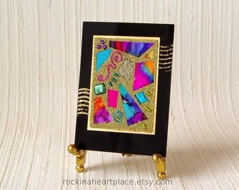 ACEO - original art card Abstract Microbead Collage