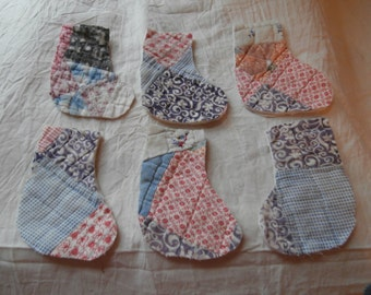 6 VINTAGE QUILT  Mini STOCKINGS Cutouts  for Christmas Free Shipping