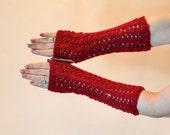 Red Lace Fingerless Gloves - Shimmer Hobo Wrist Warmers - Fancy Women Texting Glove