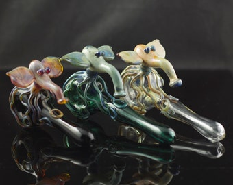 Octophant Glass Pipe / Octopus Elephant Spoon / Large Borosilicate Pipe / Glass Tobacco Smoking Pipe / You Choose the Color / Made to Order