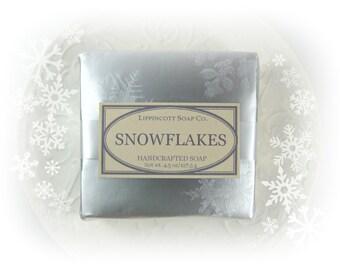 Snowflakes Soap, Cold Process Soap, Christmas Soap, Bar Soap, Phthalate Free Soap, Handmade Soap, Eucalyptus and Spearmint Soap, Winter Soap