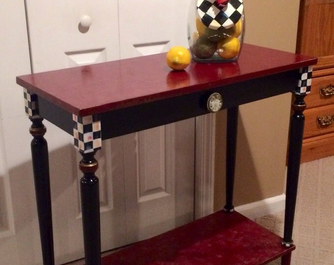 Whimsical Painted Furniture, Hand Painted Console or Sofa Table black white check marbled custom burgundy gold black