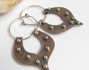 Medium Tribal Lotus Earrings, Copper Hoop Earrings, Sterling Silver And Copper Mixed Metal Earrings, Metalsmith Jewelry