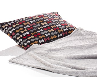 Nap Mat for boys, Boy Sleeping Mat, preschool mat,Boy Day Care Mat, Bowties, Stud, Built in Gray Minky Blanket and Pillow, Black Red Grey
