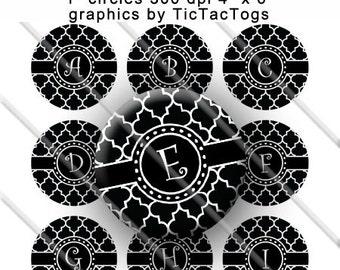Black White Quatrefoil Alphabet Bottle Cap Images Digital Collage 1 Inch A-Z Digi - Instant Download - BC157