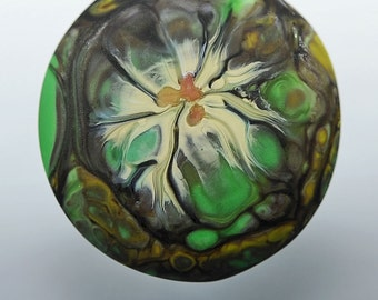 Evergreen ... glass CABOCHON handmade organic lampwork jewelry designer cabs SRA by GrowingEdgeGlass/ Mikelene Reusse