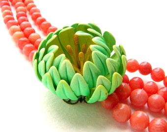 Beaded Bib necklace, Beadwork statement necklace, Coral bead layered bib, vintage Chartreuse green dahlia enamel brooch