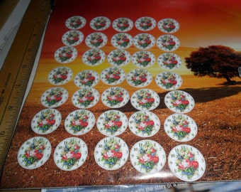 65 Total - 35 Clock Faces w/Large Rose bottle cap linings PLUS 30 a Variety of Cartoon Animals