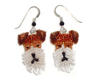 FOX TERRIER beaded dog sterling silver jewelry dangly drop earrings / Ready to Ship