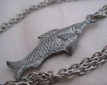 Fish Silver Necklace Vintage Pendant