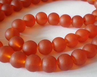 10mm Frosted Dark Orange Glass beads - 20pcs