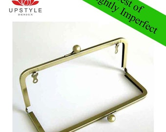 "SAVE 50% Private Stash - BEST of Slightly Imperfect Clutch Purse Frames - Set of 10 Frames 8"" x 3"" Antique Gold with chain loops"