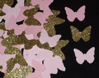 100 Pink and Glittered Gold Mini Die Cut Butterfly Confetti