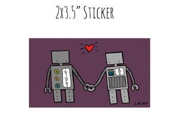 Robots in Love Sticker