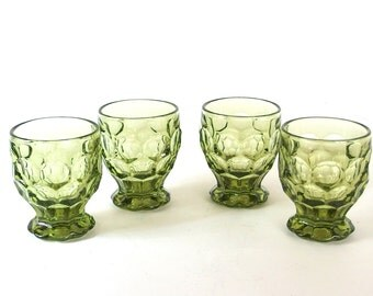 4 Retro Dishes - Imperial Provincial Green Footed 9 oz. Tumblers