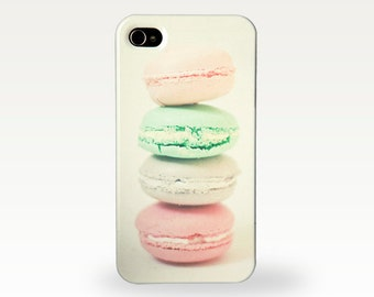 Four Macarons. Hard Case for iPhone 4/4s, 5/5s, 5c, 6, 6 Plus and Samsung Galaxy S3, S4. Retro Food Photograph. Pastel Macaroon Art
