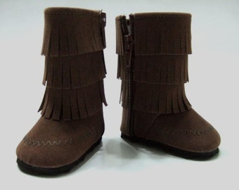 Accessories Made to fit American Girl Dolls, Boots Made to fit  AMERICAN GIRL DOLLS, Brown Fringe Faux Suede Boots Fit American Girl Dolls