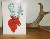 "Red Reindeer Christmas Card 5x7"""
