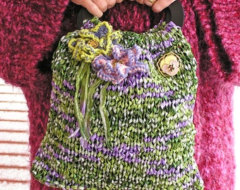 Sparkle Plenty   A Sari Ribbon Knitted Purse with Pizzazz and Sparkle