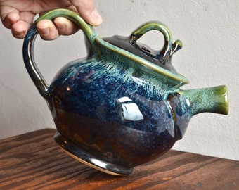 Teapot ceramic, handmade stoneware tea serving, hostess entertaining, glazed in gray green, handmade by hughes pottery