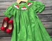 Smocked Santa Hat Dress Girls Christmas Dress