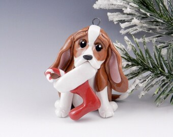 Basset Hound Christmas Ornament Figurine Stocking Porcelain