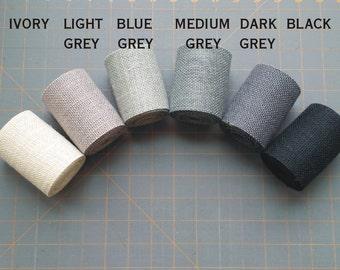 3 inch GREY BLACK or IVORY Burlap Ribbon