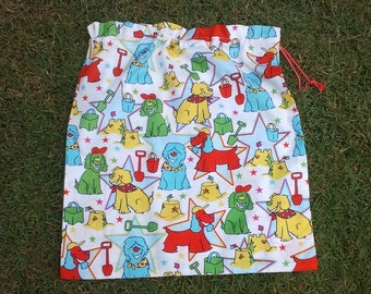 Large library bag for kids, dogs at the beach, cotton drawstring bag for toys, sheets