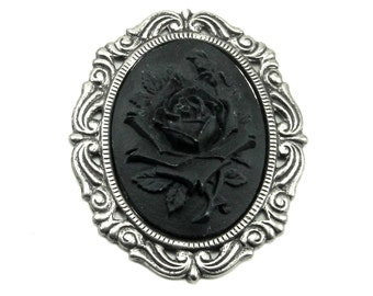 Gothic Mourning Cameo Rose in Solid Black with Antiqued Sterling Silver Plated Setting - 40x30mm - Neo Victorian, Romantic, Goth Boho
