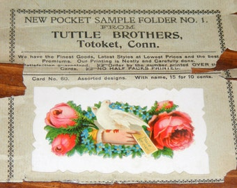 Antique Victorian Calling Cards on Original Advertisement Slip Embossed Hand with Roses Dove Tuttle Brothers Totoket Conn