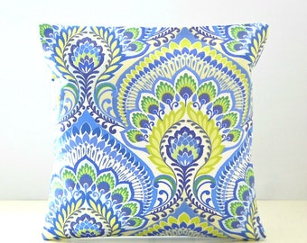 blue lime yellow decorative pillow cover, retro floral ,16 inch cushion cover