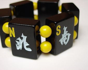 North South East and West Winds / Direction / Directions / Winds / Travel / Traveler / Mah Jong Tile Bracelet / Black and Yellow / BEE / FUN