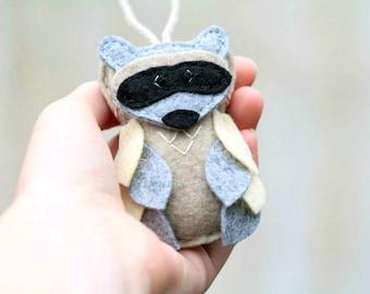 Felt Owl Ornament in Raccoon Mask, Plush Woodland Animal Christmas Ornament Embroidered, Handmade by OrdinaryMommy