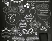 ChalkBoard Christmas Digital Clipart Elements & Papers Commercial use for paper, invites InStAnT DoWnLoAd