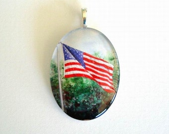 American Flag Art Glass Oval Pendant Old Glory Red White Blue United States Flag