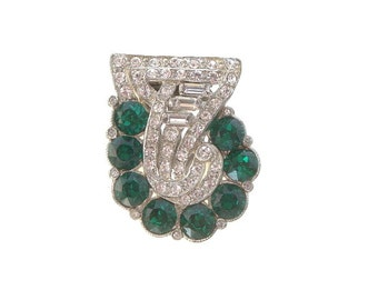 Art Deco Emerald, Vintage Rhinestone Dress Clip, Baguette Crystals, 1920s Art Deco Jewelry, Wedding Jewellery
